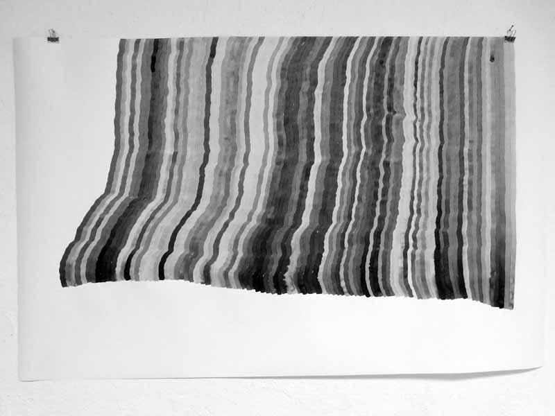 time sheet n°96   2020   169 x 110 cm   Tusche auf Papier